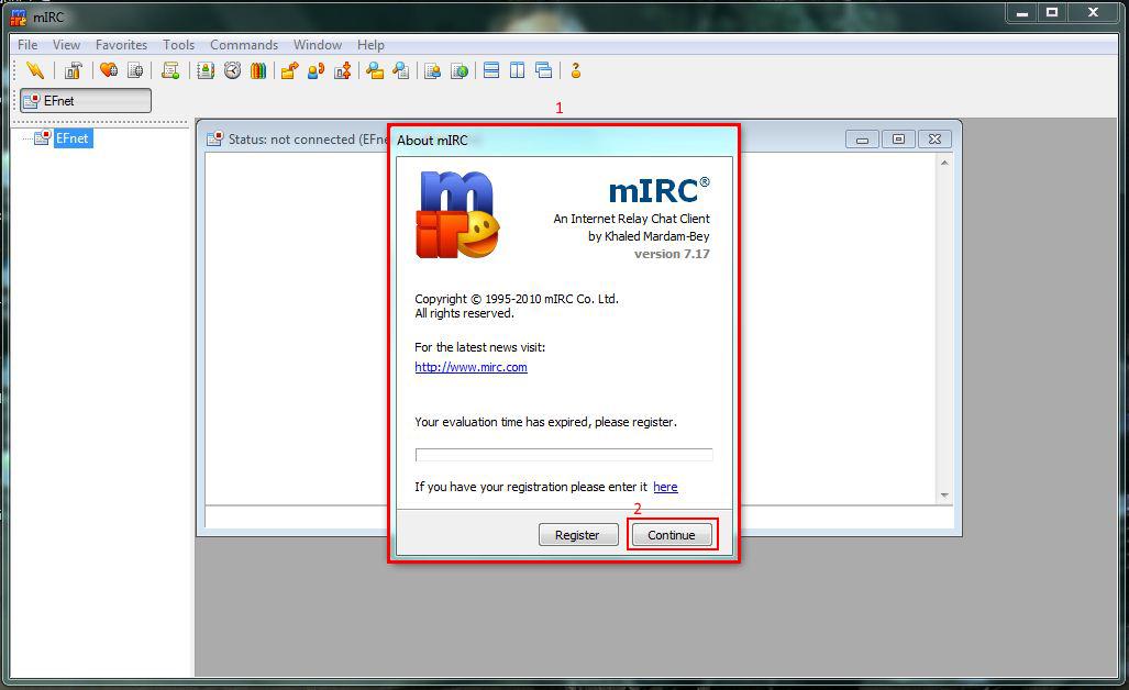 mIRC Client starten